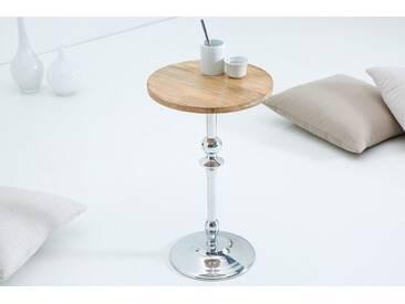 Eleganter Beistelltisch JARDIN silber mit Mango Tischplatte orientalisch