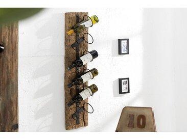 Massives Wand Weinregal BARRACUDA 100cm natur Teakholz Flaschenhalter