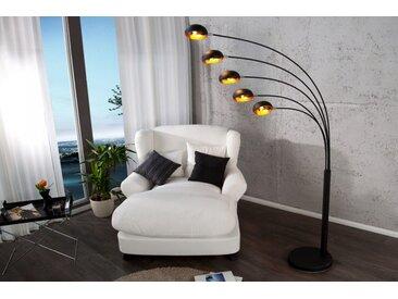 Design Bogenlampe FIVE LIGHTS 205cm schwarz gold Stehlampe Bogenleuchte