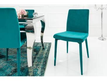 Exklusiver Design Stuhl MILANO Samt aqua