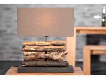 Handgefertigte Design Tischlampe PERIFERE Schirm braun Treibholz Lampe mit echtem Leinenschirm