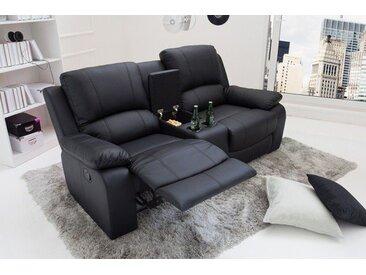 Exklusiver 2er Kino Sessel HOLLYWOOD 188cm schwarz Fernsehsessel mit Getränkehalter