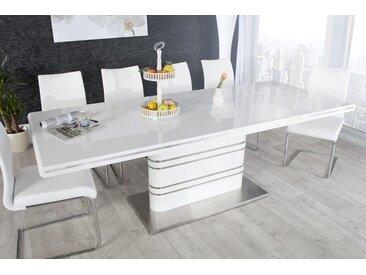 Ausziehbarer Esstisch ATLANTIS XL 160-220cm weiß Hochglanz Konferenztisch Säulentisch