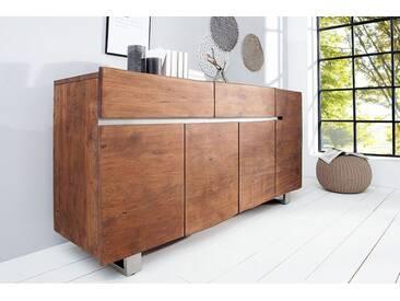 Massives Baumstamm Sideboard MAMMUT hell braun 170cm Akazie Massivholz Industrial Chic Kufengestell Edelstahl matt