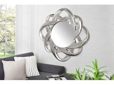 Moderner Design Spiegel INFINITY HOME  95x95cm silber außergewöhnlicher Rahmen