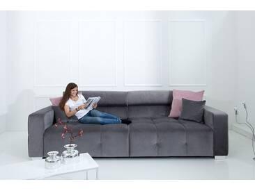 Elegantes Big Sofa HERITAGE 290cm grau inkl. Kissen und verstellbaren Kopfstützen