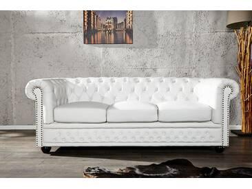 Edles Chesterfield 3er Sofa matt weiß Knopfheftung