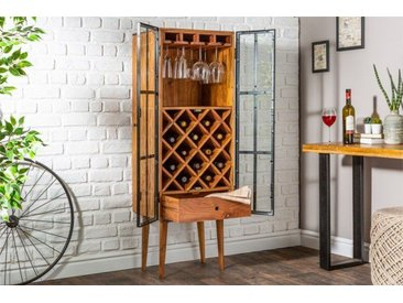 Massives Weinregal BODEGA 145cm Akazienholz Flaschenregal Industrial Design