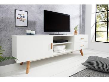Design Lowboard SCANDINAVIA MEISTERSTÜCK 150cm weiß Eiche TV-Board