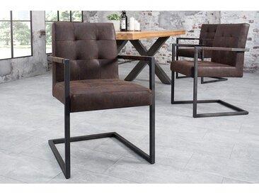 Industrial Freischwinger Stuhl RIDER vintage braun Sattelleder Eisengestell