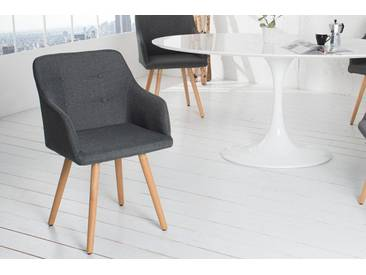 Retro Design Stuhl SCANDINAVIA MEISTERSTÜCK grau mit Armlehne