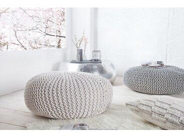 Design Strick Pouf LEEDS XXL 70cm weiß Baumwolle handgearbeitetes Sitzkissen