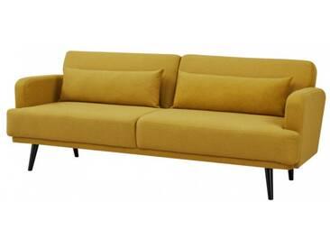 Elegantes 3-Sitzer Sofa STUDIO 214cm senfgelb inkl. Kissen mit Schlaffunktion