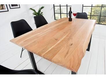 Massiver Baumstamm Tisch Mammut 140cm Massivholz Akazie industrial Kufengestell mit 2,6cm dicker Tischplatte Baumtisch