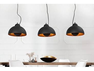 Elegante Hängelampe STUDIO 3 110cm schwarz Blattgold-Optik drei Schirme