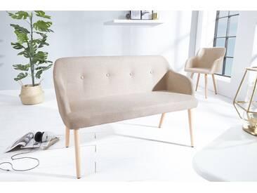 Design Sitzbank SCANDINAVIA MEISTERSTÜCK beige Buchenholz mit Armlehne