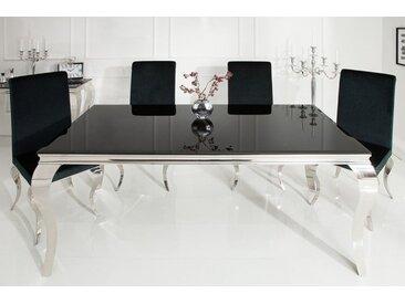 Elegante Design Esstisch MODERN BAROCK 180cm schwarz Edelstahl Opalglas Tischplatte