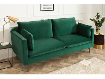 Design 3er Sofa FAMOUS smaragdgrün 210cm Samt Federkern inkl. Kissen