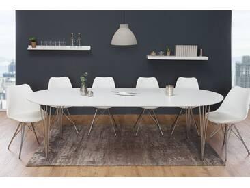 Moderner Esstisch ARRONDI Weiß 160 256cm Ausziehbar