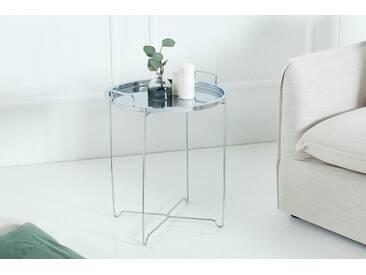 Orientalischer Beistelltisch MARRAKESCH Tablett-Tisch 45 cm klappbar silber