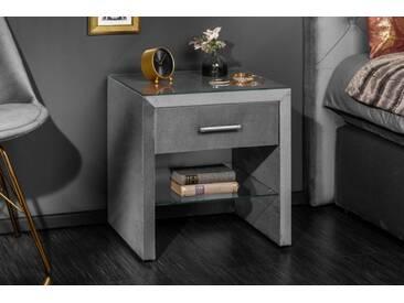 Eleganter Nachttisch ELEGANCIA 50cm grau Samt mit Schublade