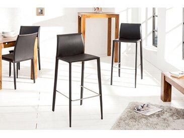 Moderner Design Barstuhl MILANO schwarz Echtleder Bezug mit Fußablage