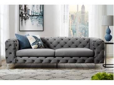 Extravagantes Samt Sofa MODERN BAROCK 240cm grau 3-Sitzer Chesterfield Design