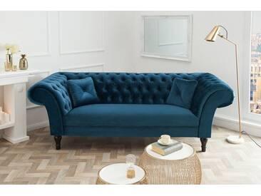 Chesterfield Sofa PARIS 225cm Samt königsblau mit 2 Kissen