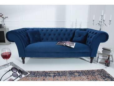 Chesterfield Sofa CONTESSA Samt königsblau mit 2 Kissen
