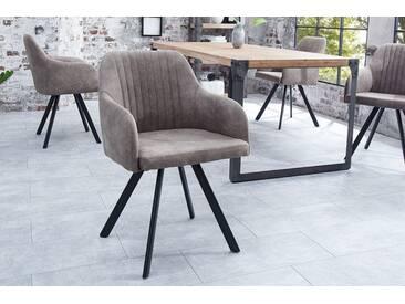 Retro Design Stuhl LUCCA taupe grau mit Steppung Industrial Stil