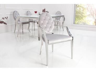 Eleganter MODERN BAROCK Samt Armlehnen Stuhl mit Zierknöpfen