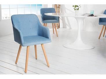 Retro Design Stuhl SCANDINAVIA MEISTERSTÜCK hellblau mit Armlehne