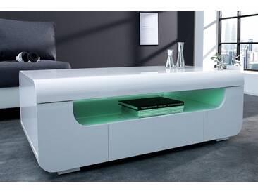 Moderner Couchtisch CUBE AMBIENCE 120cm Hochglanz weiß mit LED Beleuchtung