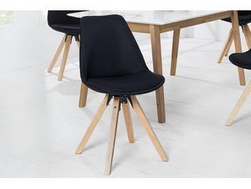 Retro Stuhl SCANDINAVIA MEISTERSTÜCK schwarz mit Strukturstoff Bezug