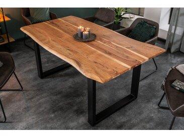 Massiver Baumstamm Esstisch MAMMUT 160cm Akazie Kufengestell 2,6cm Tischplatte Baumtisch