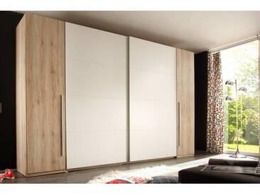 Design Schwebetürenschrank BROOKLYN 315cm weiß Eiche San Remo Kleiderschrank