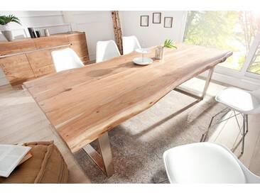 Massiver Baumstamm Tisch MAMMUT 240cm Akazie Massivholz Industrial Look Kufengestell mit 6cm Tischplatte Baumtisch