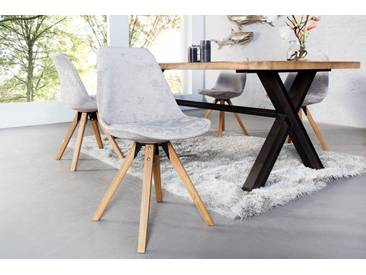 Design Stuhl SCANDINAVIA MEISTERSTÜCK grau mit Massivholzbeinen