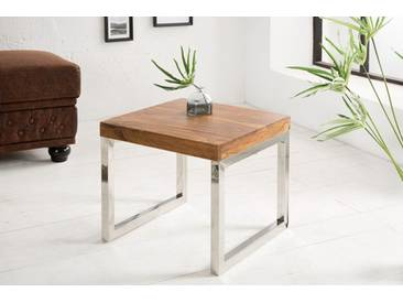 Moderner Design Beistelltisch ELEMENTS 45cm Sheesham Stone Finish verchromt
