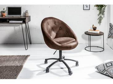 Höhenverstellbarer Bürosessel COUTURE LIVING antik coffee mit Rollen Loungedesign