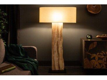 Natürliche Stehlampe ORGANIC LIVING 147cm beige Walnussholz mit Leinenschirm