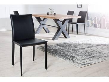 Exklusiver Design Stuhl MILANO Echtleder schwarz Ziernaht