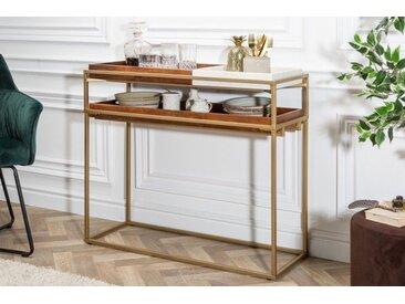 Retro Konsole HERITAGE 90cm Mangoholz Tablett Tisch mit weißem Marmor Laptoptisch