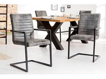 Freischwinger Stuhl IMPERIAL Vintage grau mit Armlehne Schwingerstuhl