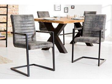 Industrial Freischwinger Stuhl LOFT vintage grau mit Armlehne Eisengestell