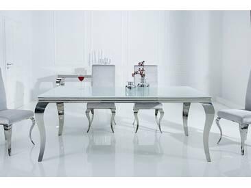 Eleganter Design Esstisch MODERN BAROCK 180cm weiß Edelstahl Opalglas Tischplatte