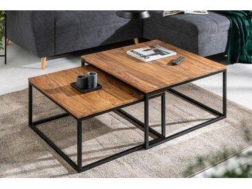 Design Couchtisch 2er Set ELEMENTS 75cm Sheesham stone finish Eisen schwarz matt