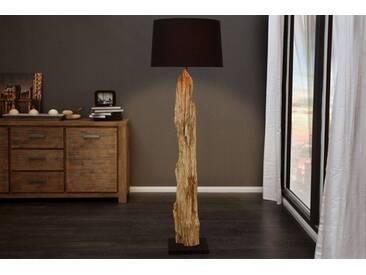 Riesige Design Stehlampe ROUSILIQUE Treibholz Lampe schwarz mit echtem Leinenschirm Handarbeit