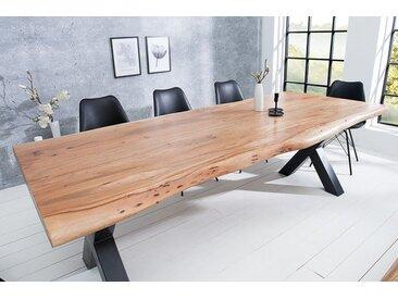 Massiver Baumstamm Tisch MAMMUT 200cm Akazie Massivholz 6cm dicke Platte Baumtisch