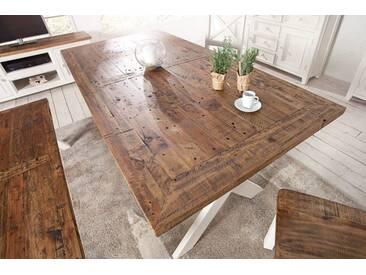 Hochwertiger Esstisch BYRON 180cm Pinienholz weiß vintage braun